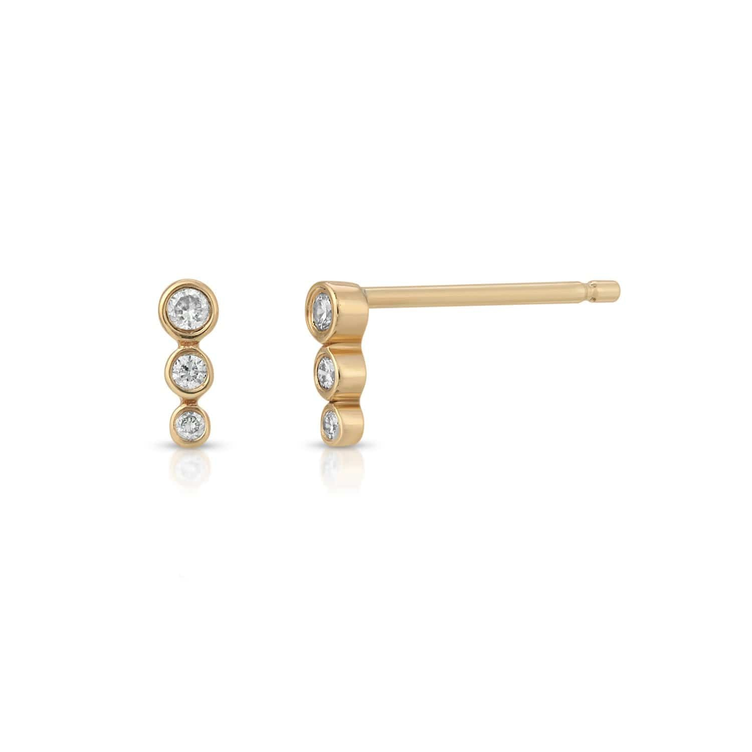 Three Diamond Graduated Size Bar Studs Letreaime