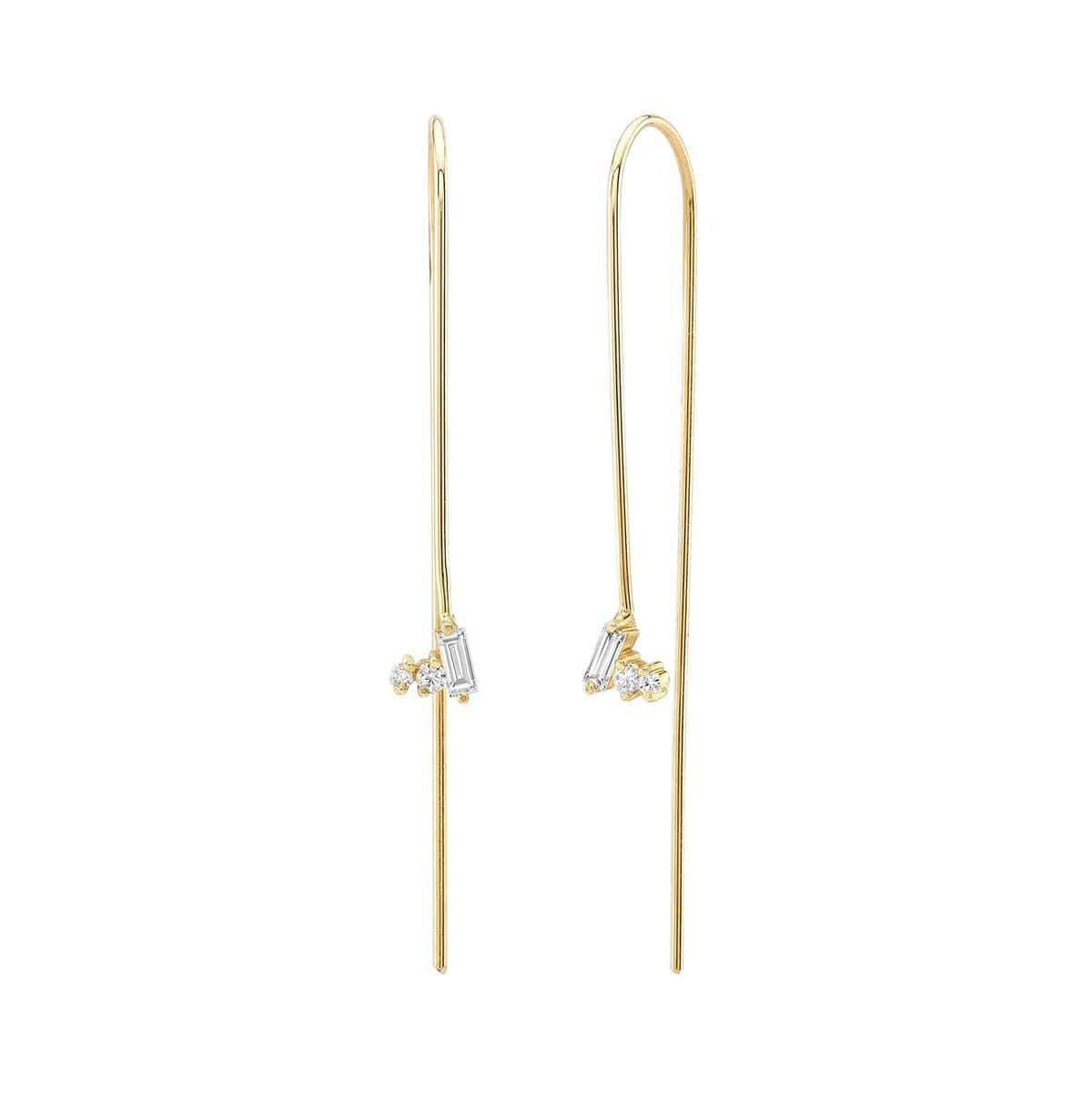 Three Diamond Cluster Gold Wire Threader Earrings