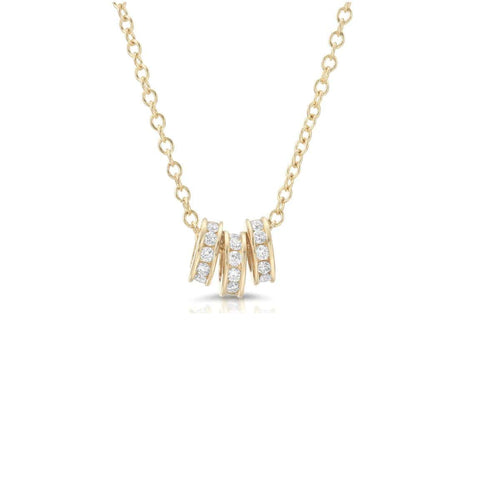 Three Diamond Rondelle Yellow Gold Necklace
