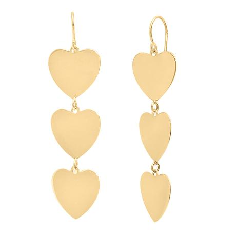 Triple Heart Yellow Gold Dangle Earrings Caitlin nicole jewelry