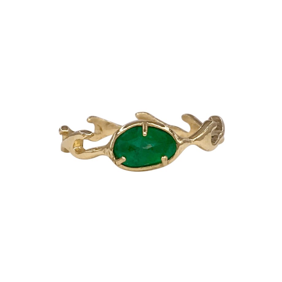 Emerald Yellow Gold Wave Ring Morgan Patricia