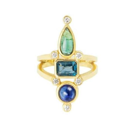 Green Tourmaline Blue topaz Kyanite Cocktail Ring