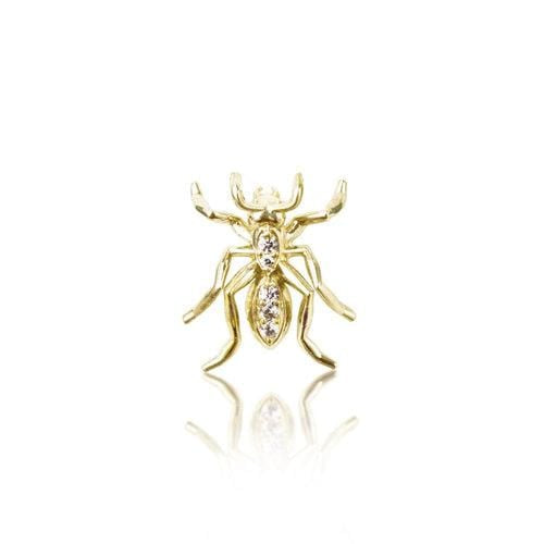 Ant Tie Tack in Diamonds and Yellow Gold