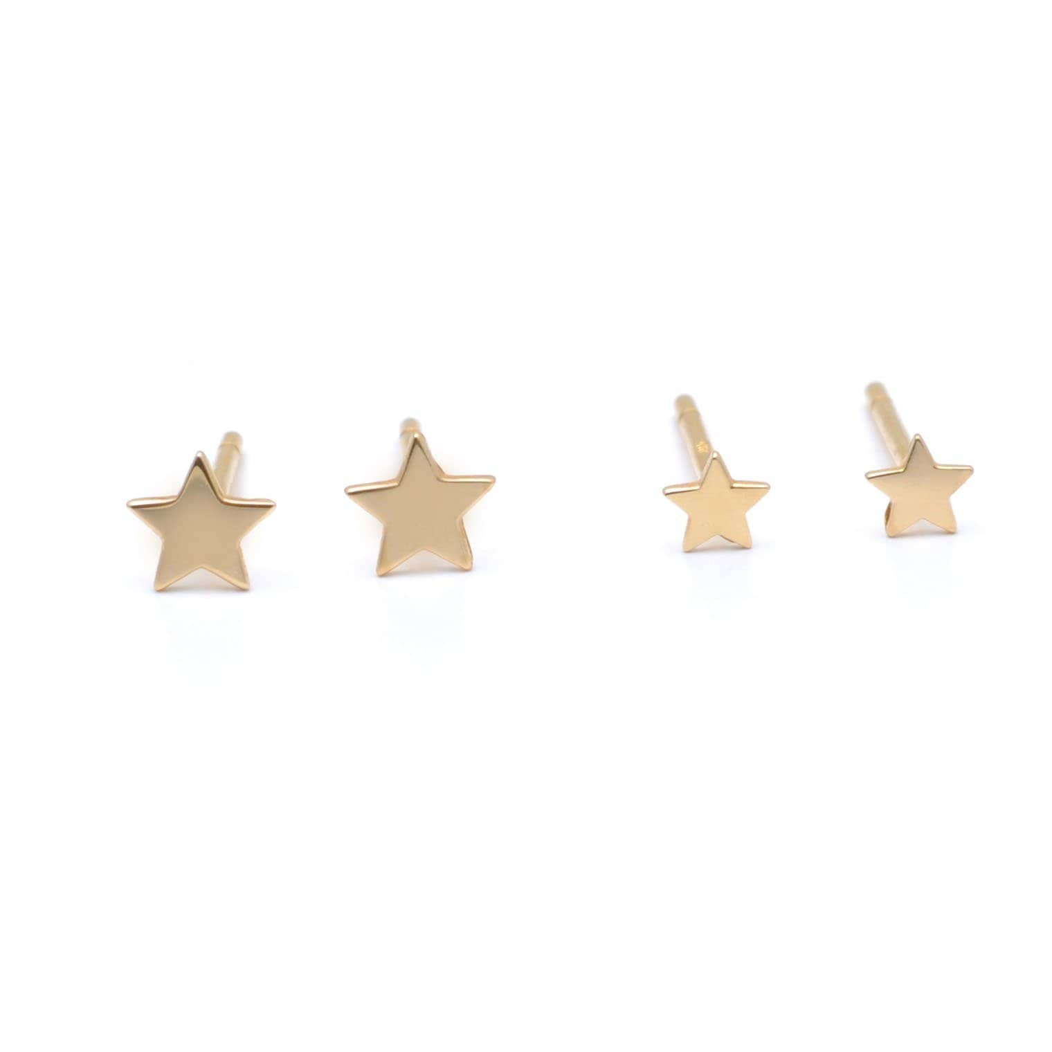 Small and Tiny Star Yellow Gold Earrings