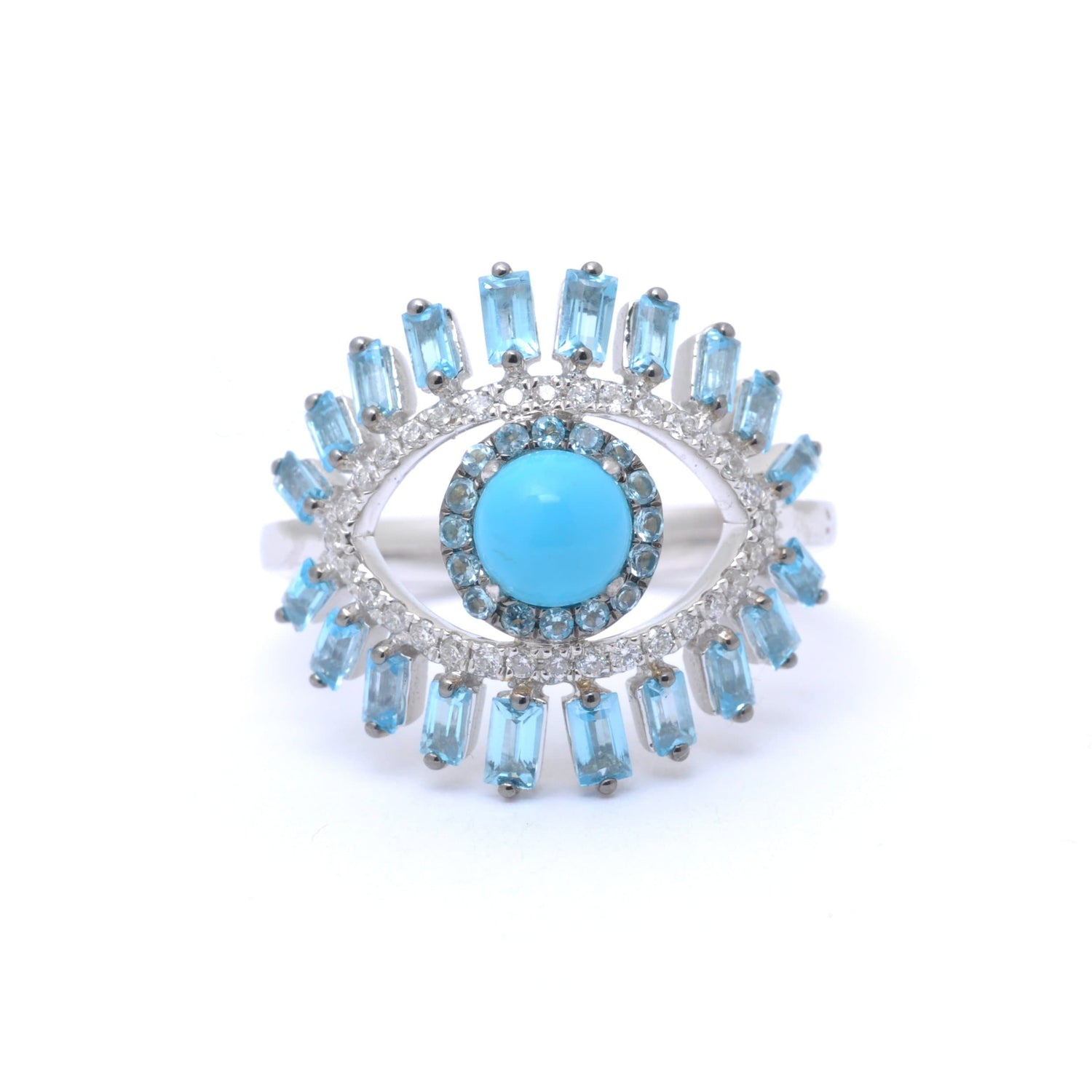 Turquouse Topaz Diamond Evil Eye Statement Ring
