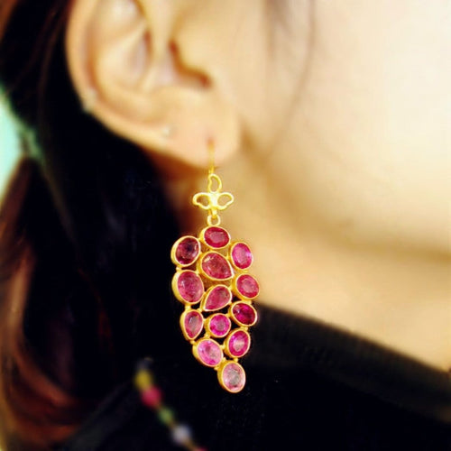 Pink Sapphire Dangle Earrings - Curated Los Angeles