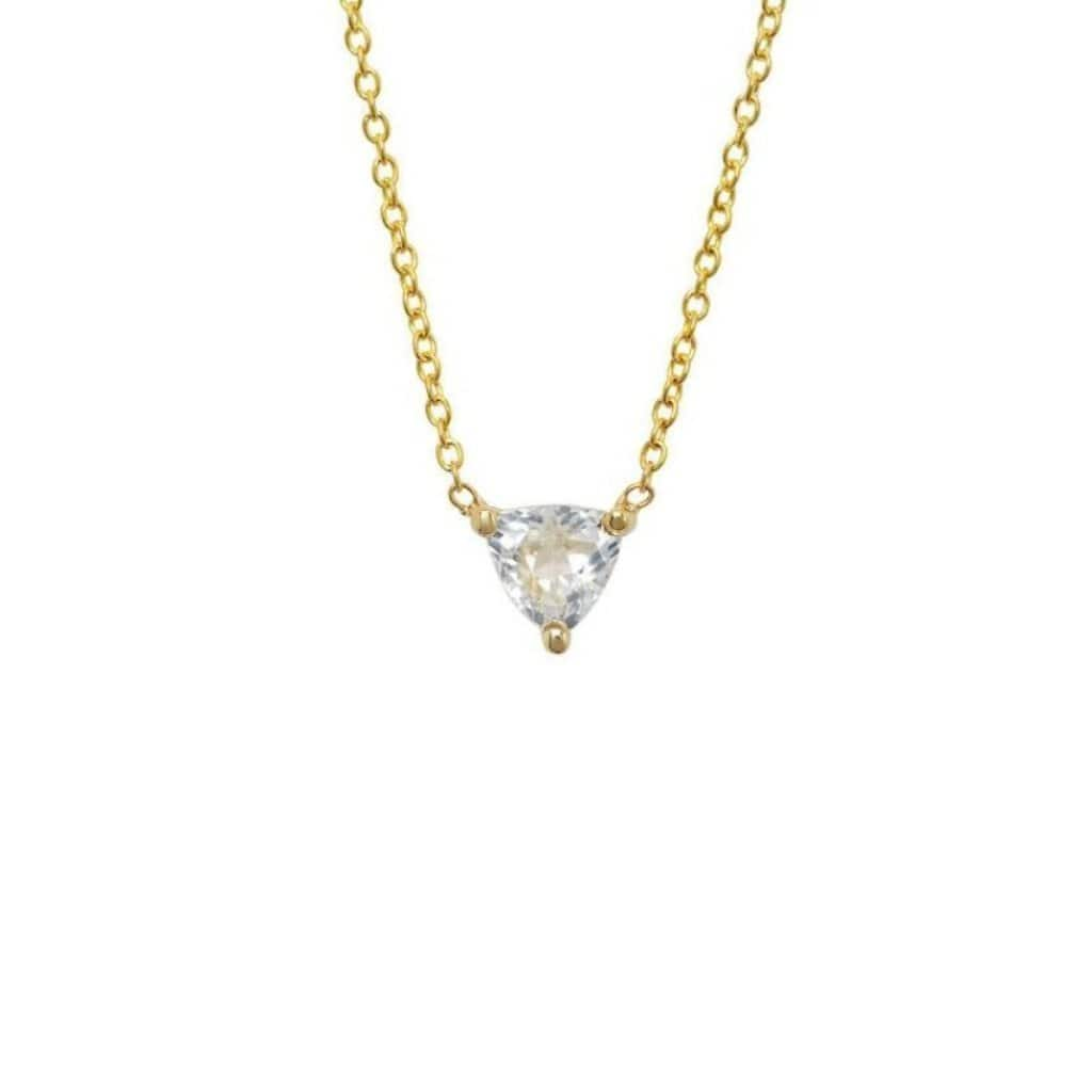 White Topaz Trillion Cut Solitaire Necklace - Curated Los Angeles