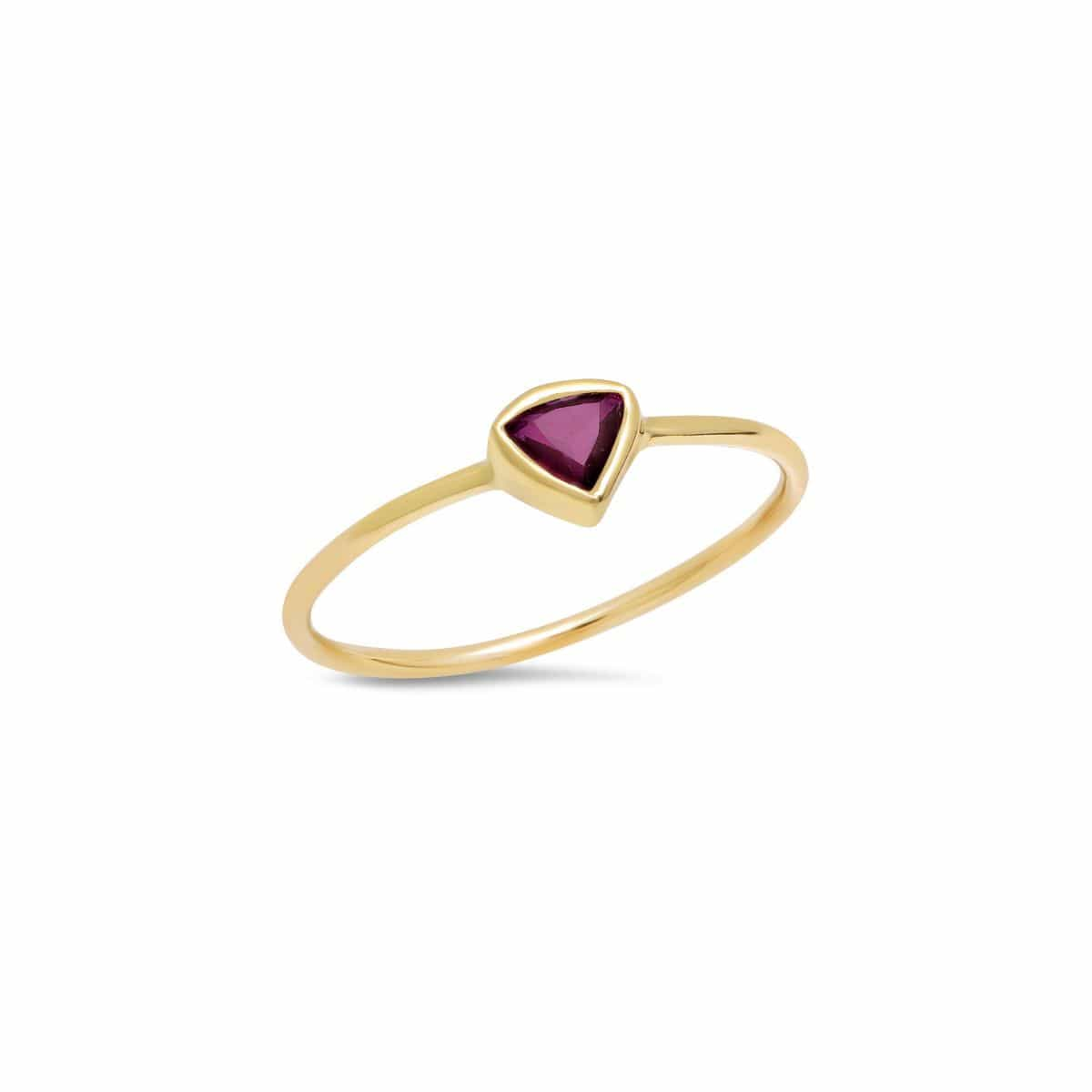 Dark Pink Tourmaline Trillion Cut Yellow Gold Ring Caitlin Nicole Curated Los Angeles