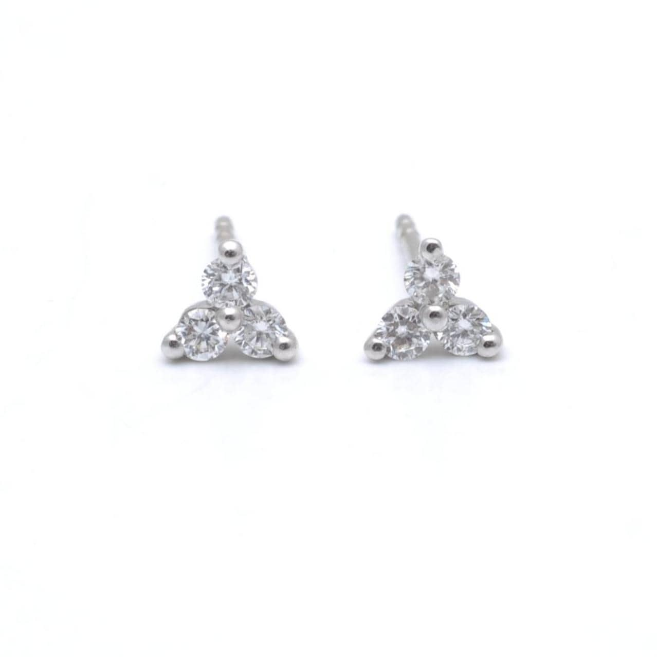 White Gold Three Diamond Cluster Studs Trio Diamonds