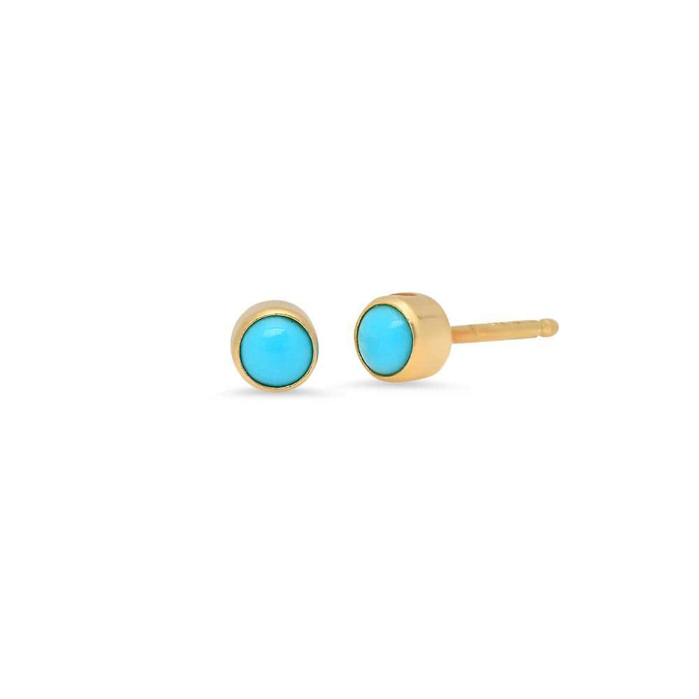Round Turquoise Yellow Gold Earrings Caitlin Nicole
