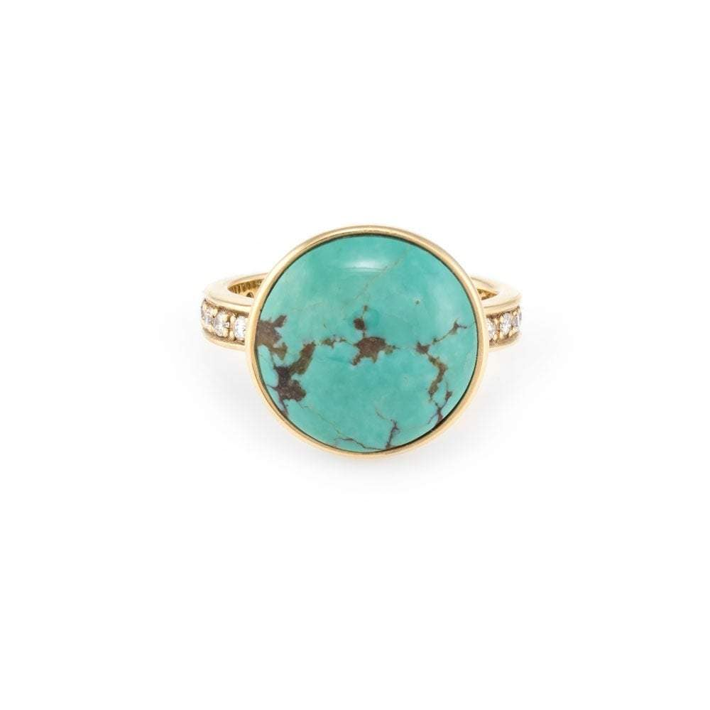 Diamond Turquoise Gold Cocktail Ring