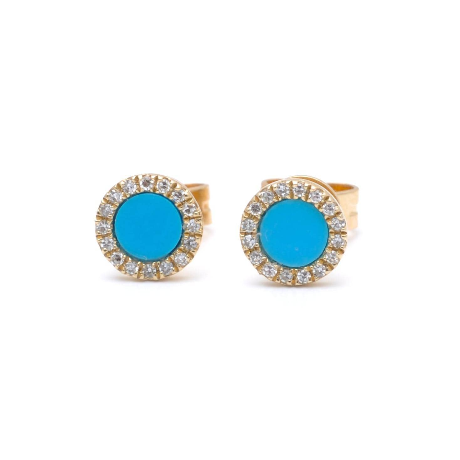 Round Turquoise Diamond Halo Earrings Curated Los Angeles
