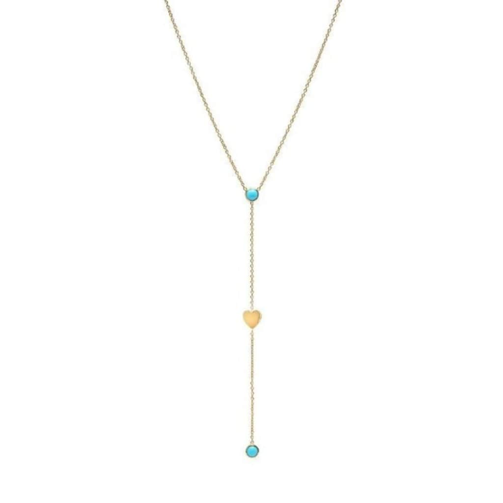 Turquoise Flat Heart Lariat Style 14k Necklace - Curated Los Angeles