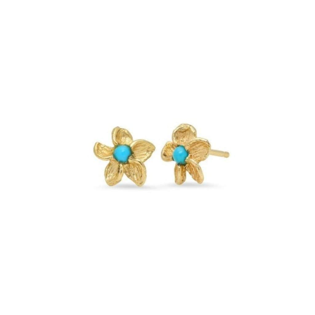 Tropical Flower Turquoise Stud Earrings - Curated Los Angeles