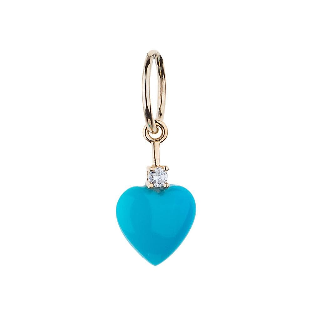 Turquoise Heart Diamond Accent Gold Charm