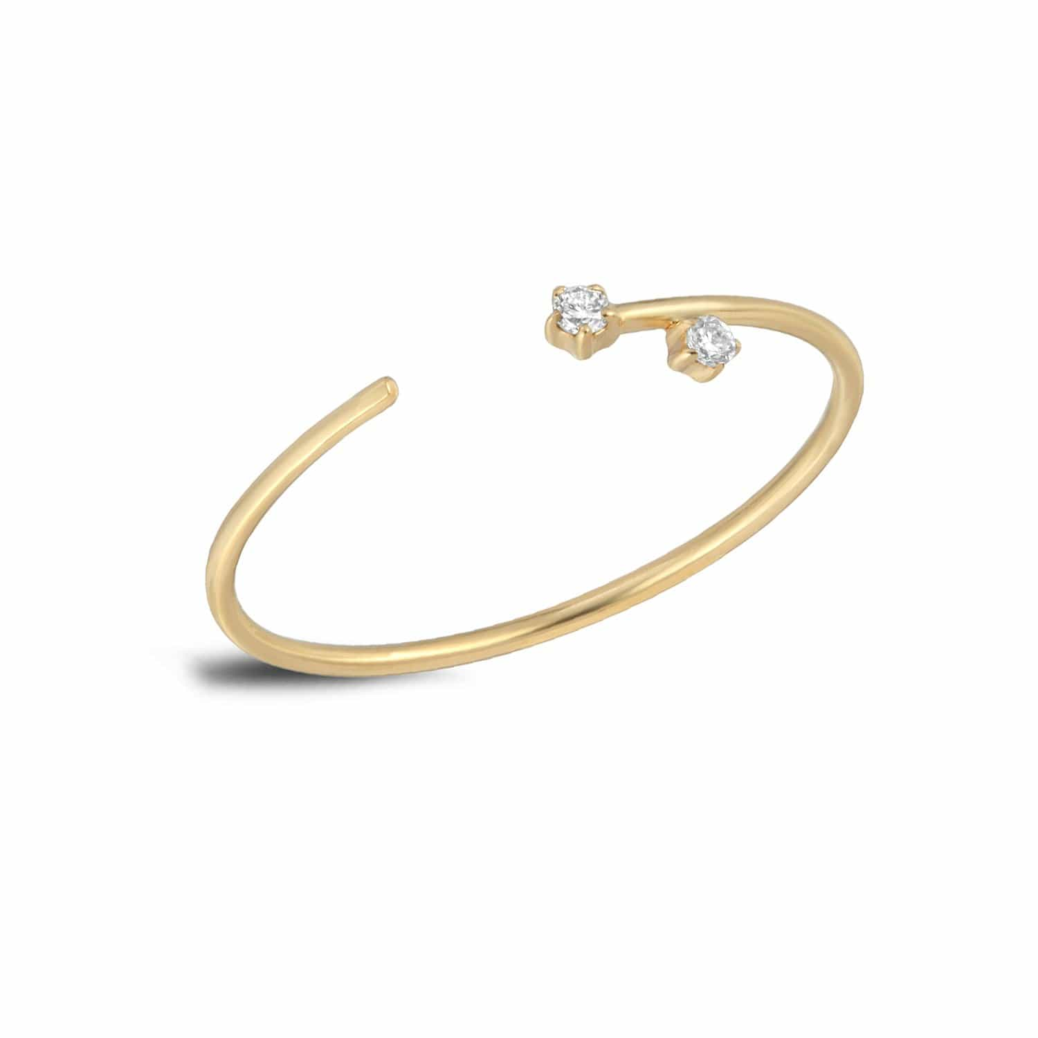 Two Diamond Delicate Gold Cuff Ring Letreaime