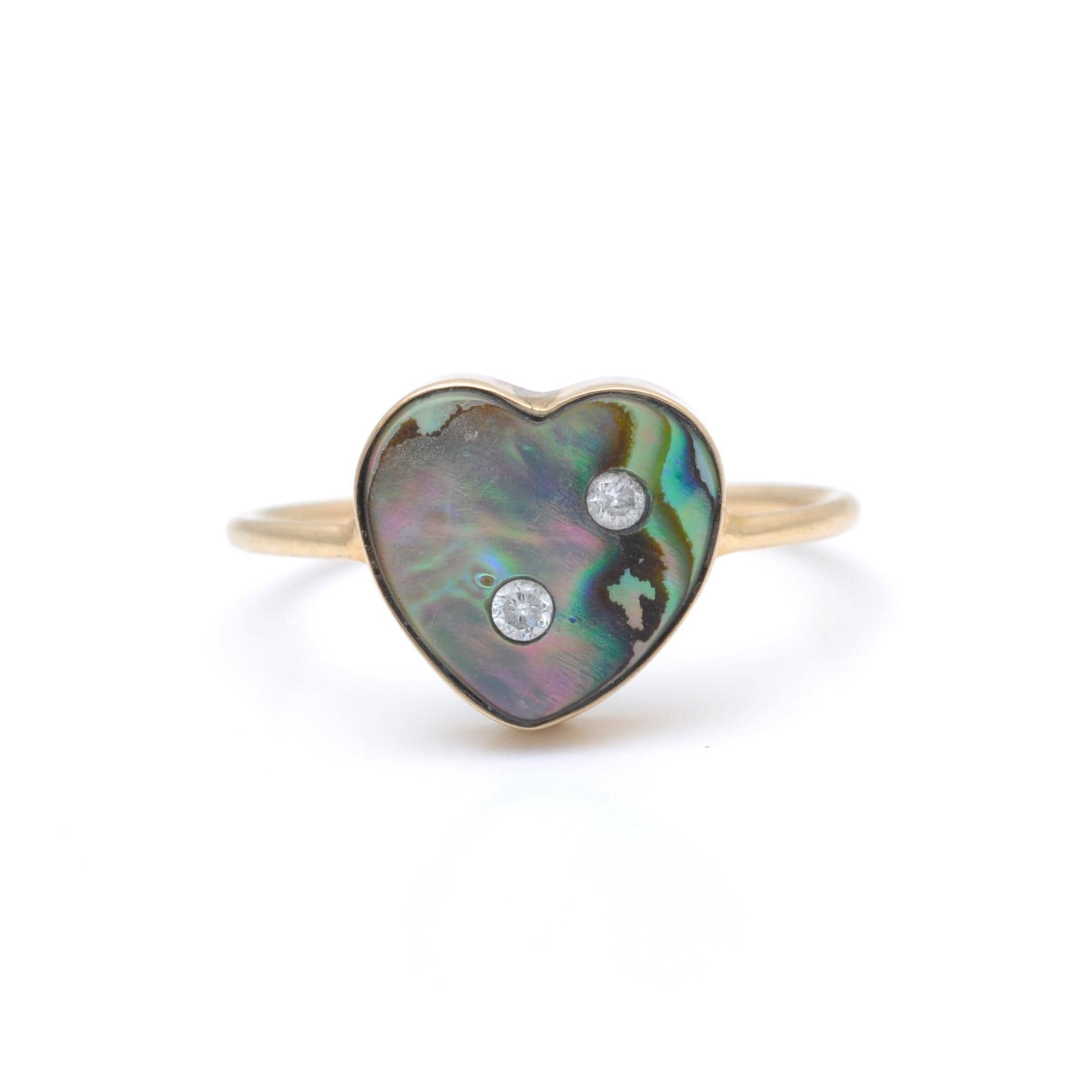 Abalone Two Diamond Heart Ring
