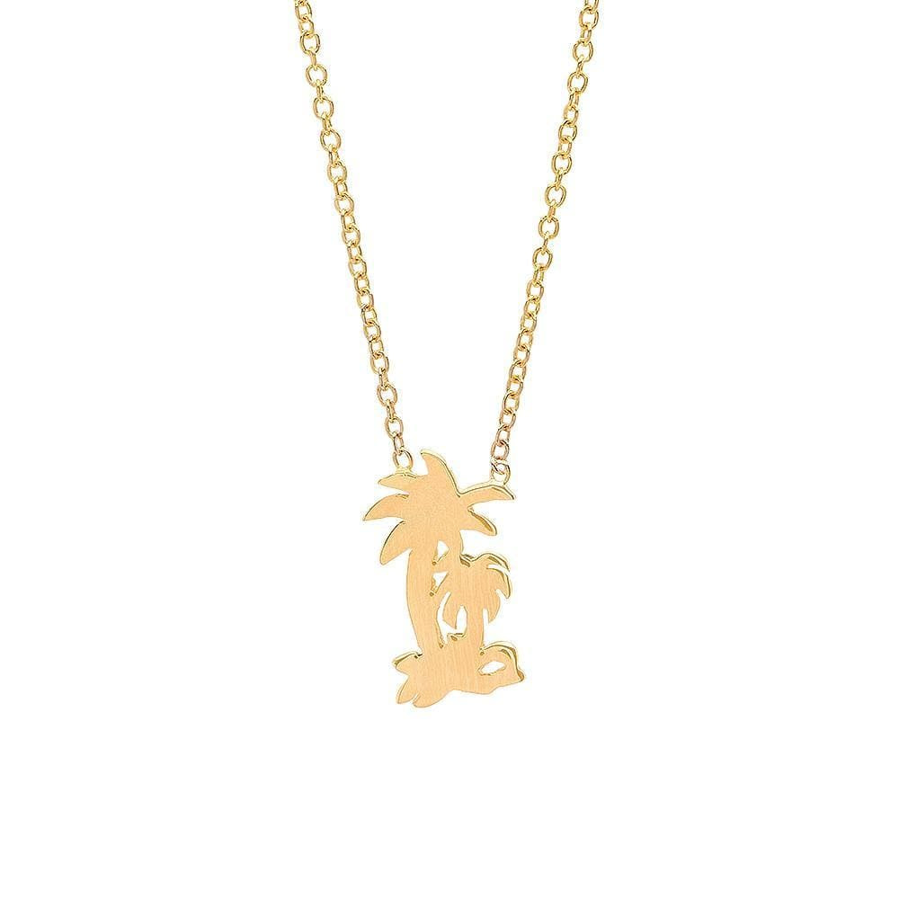 Two Palm Tree Yellow Gold Pendant Caitlin Nicole