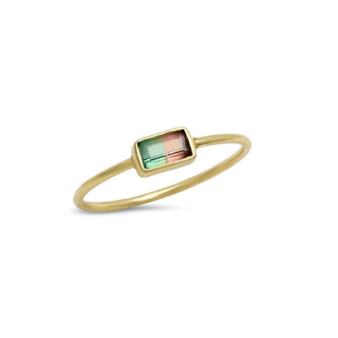 Rainbow Sapphire Ruby Diamond Eternity Rose Gold Ring
