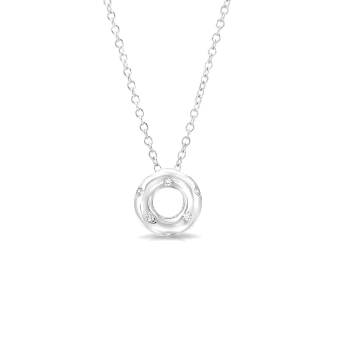 Diamond Circle White Gold Pendant Letreaime