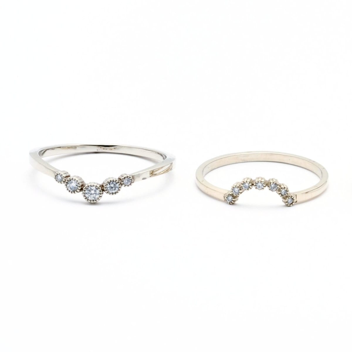 white gold curved wedding bands