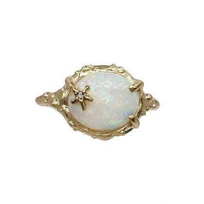 Opal Diamond Starfish Gold Ring