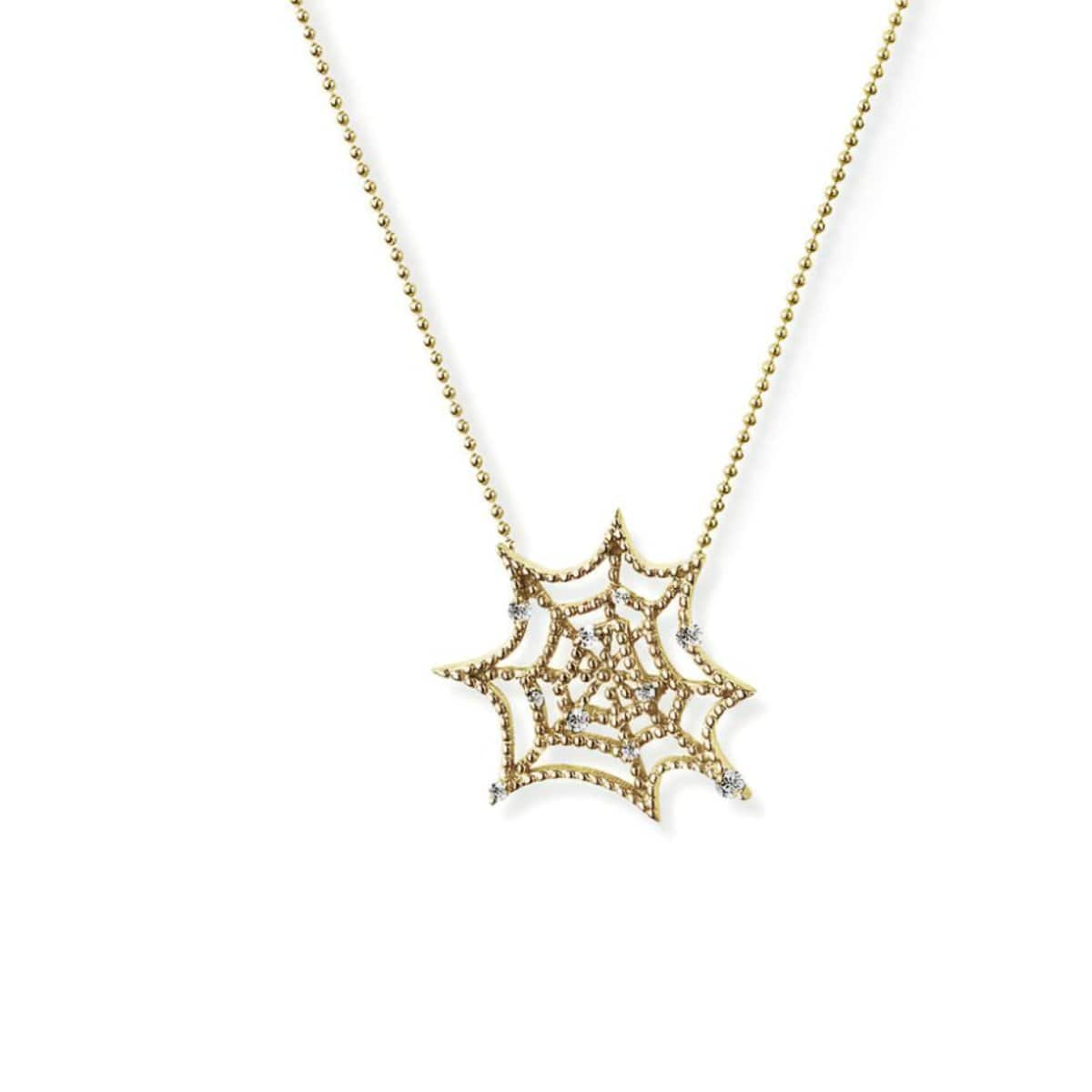 White Sapphire Dew Drops Spider Web Necklace
