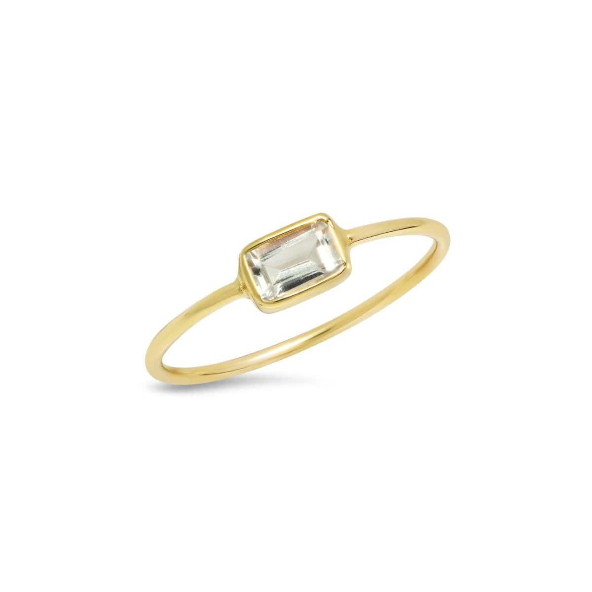 White Topaz Emerald Cut Gold Bezel Ring