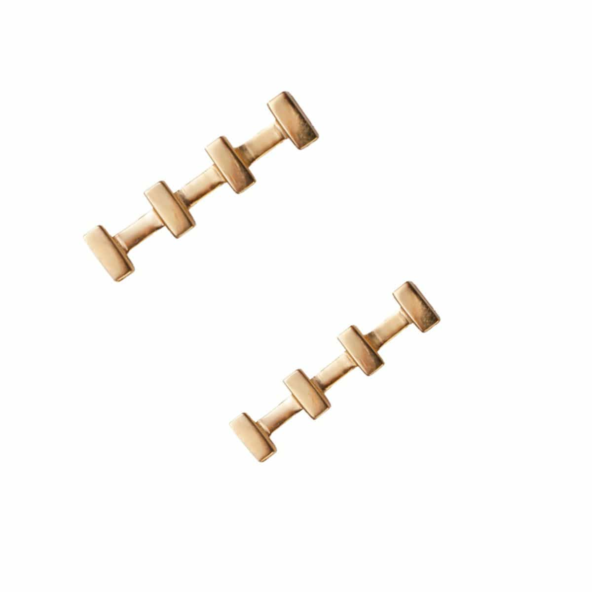 Yellow Gold Line Bar Studs
