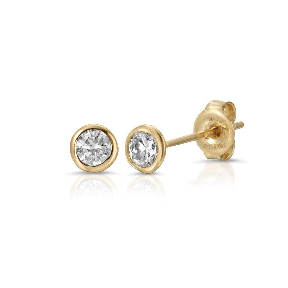 Yellow Gold Bezel Diamond Studs