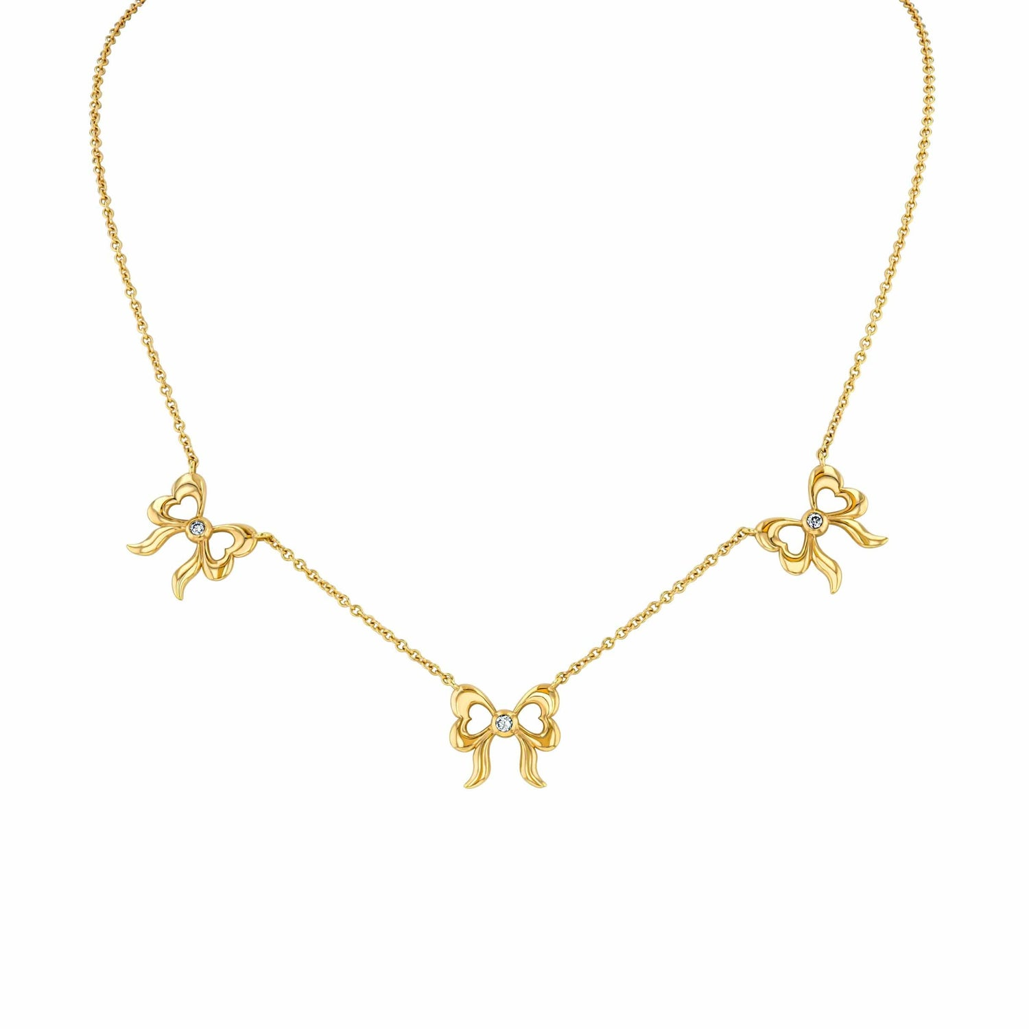 Three Bow Diamond Necklace in 18k Yellow Gold Elizabeth Jane Atelier
