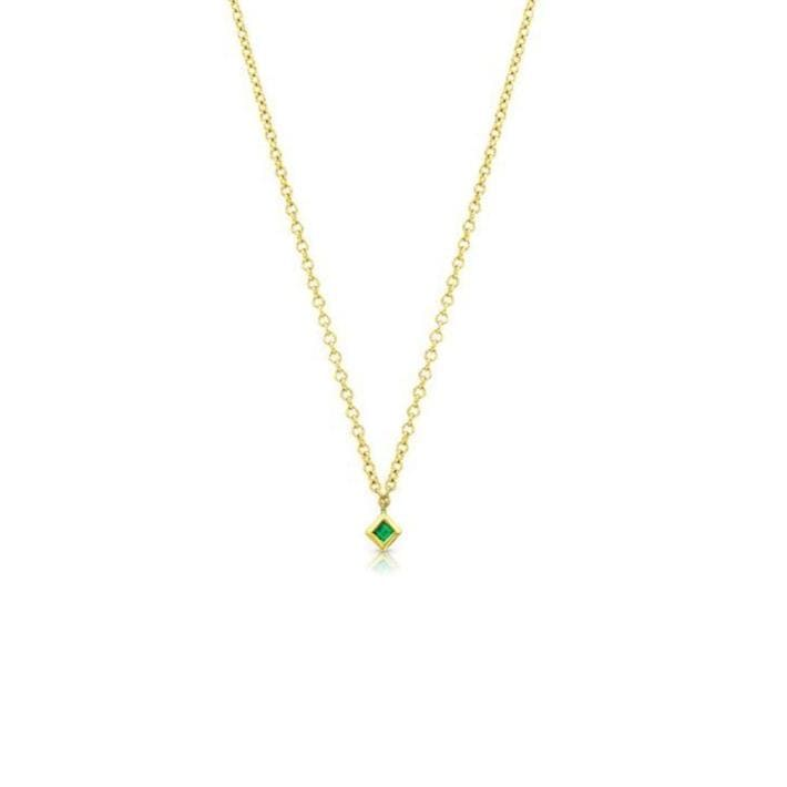 Princess Cut Emerald Yellow Gold Necklace