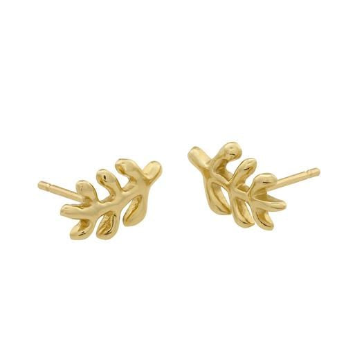 14k yellow gold leaf design stud earrings