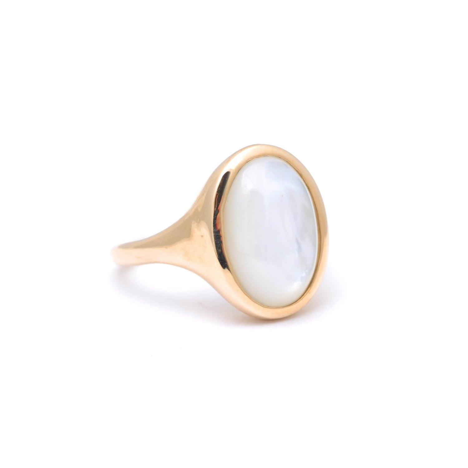 Mother of Pearl Oval Yellow Gold Signet Ring