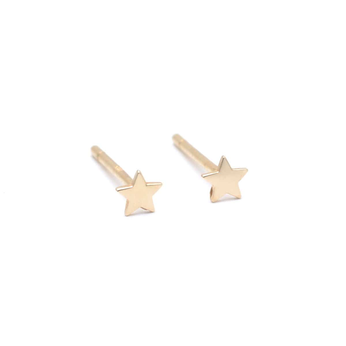 Tiny Star Yellow Gold Studs Curated Los Angeles