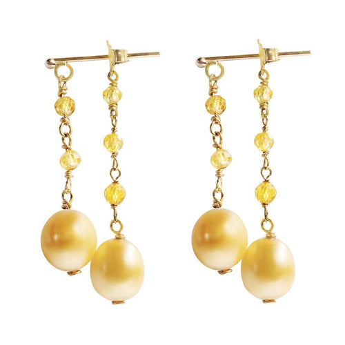 Tarrah gold pearl yellow sapphire earrings