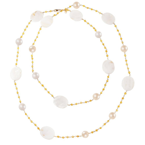 Mother of Pearl Yellow Sapphire Pearl Long Necklace