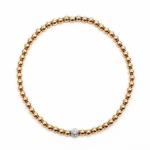 Diamond Bead Yellow Gold Stacking Bracelet