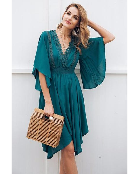 f36146a245cdcc Sterling + Koi - Lace Hollow Out Midi Dress - Green - Front2