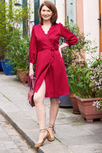 Robe Sofia - cerise - viscose upcyclée - Made in France