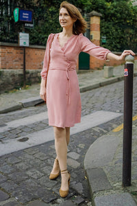 Robe Sofia - vieux rose - viscose upcyclée - made in France