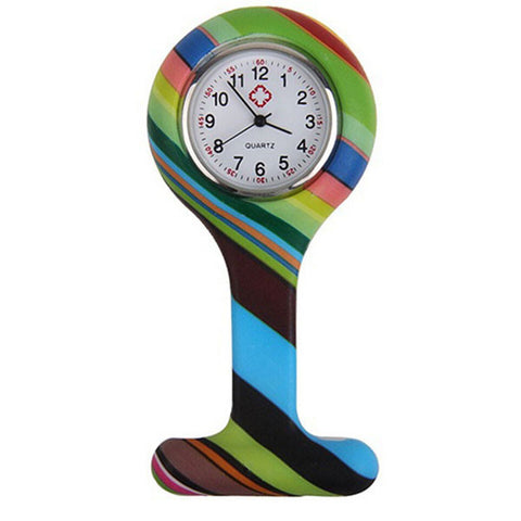 Montres broche silicone infirmière - motifs rayures