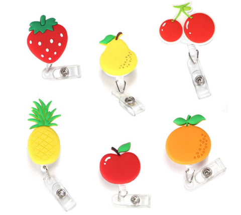 Porte badges rétractables et extensibles en forme de fruits