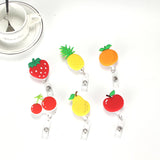 "Porte-badges rétractables ""Fruits"" - Fraise, poire, cerise, ananas, pomme, orange"