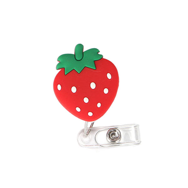 "Porte-badges rétractables ""Fruits"" en forme de fraise"