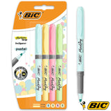 Surligneurs BIC Highlighter Grip Pastel - Pack de 4