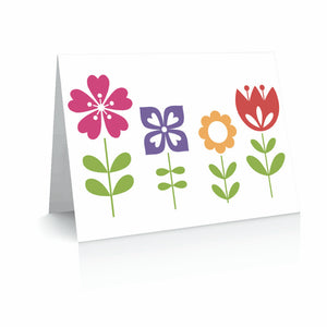 Four Flowers Greetinng Card | Polycute Gift Shop