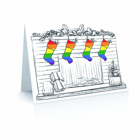 Christmas Pride Stockings Greetinng Card | Polycute Gift Shop