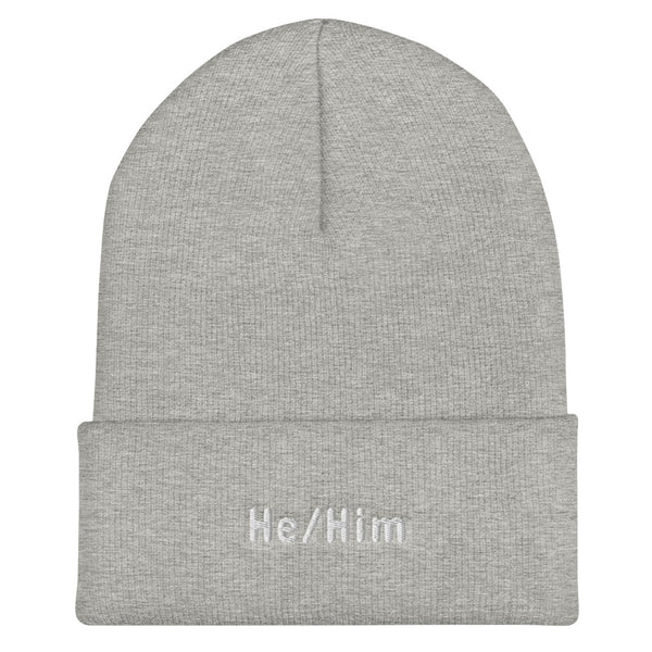 He/Him Pronoun Cuffed Beanie