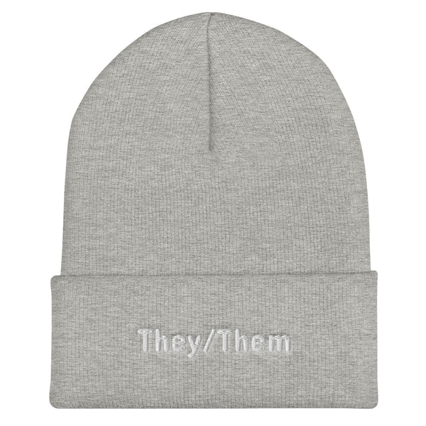 They/Them Pronoun Cuffed Beanie